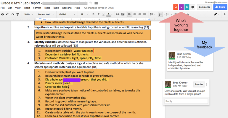 Using shared Google Docs to teach lab-writing skills in grade 8 (MYP 3) science.