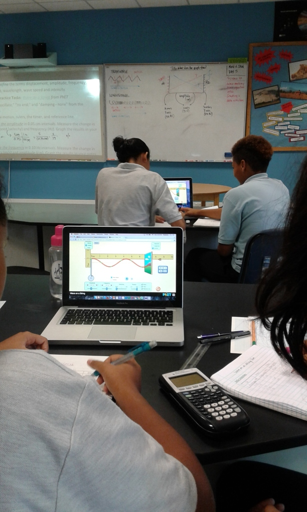 Using a PhET simulation to learn about frequency, period, and velocity of waves.
