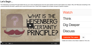 Image from screen capture of a sample video lesson on TED-Ed.