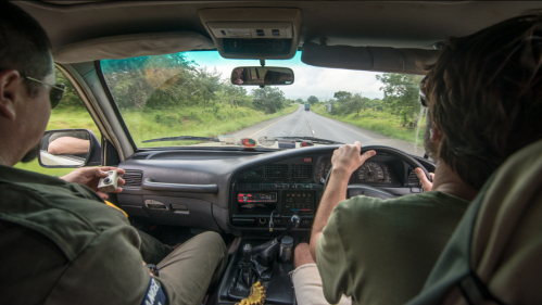 On the road in Tanzania.