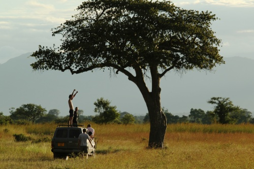 Celebrating another beautiful savanna sunset. Mikumi National Park, Tanzania. April 2012